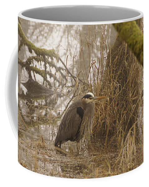 Heron In A Fog Coffee Mug featuring the photograph Heron In A Fog by Wes and Dotty Weber