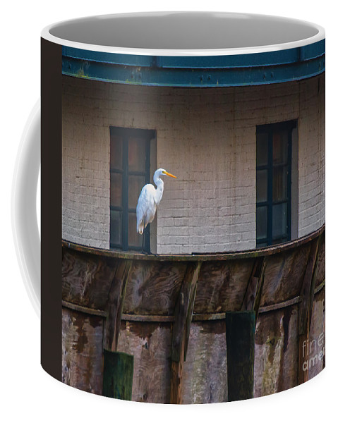 Heron Coffee Mug featuring the photograph Heron In The Window by Scott Hervieux