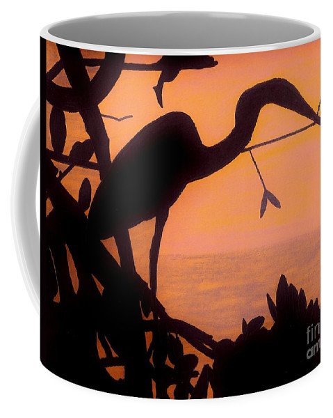 Sunset Coffee Mug featuring the drawing Heron Sunset by D Hackett