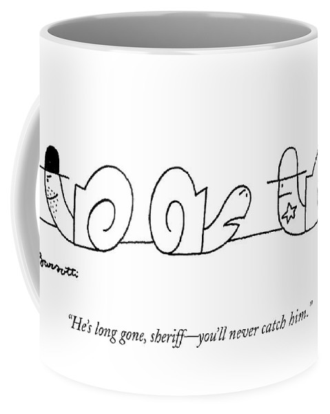 Cowboys Coffee Mug featuring the drawing He's Long Gone by Charles Barsotti