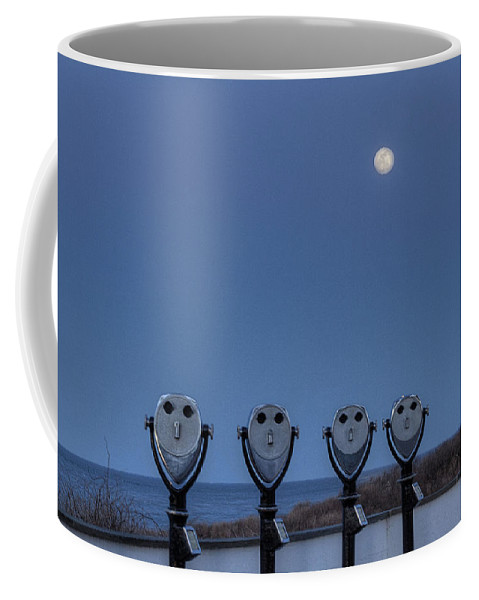 Viewers Coffee Mug featuring the photograph Hey Take Our Picture Infront Of The Moon by Steve Gravano