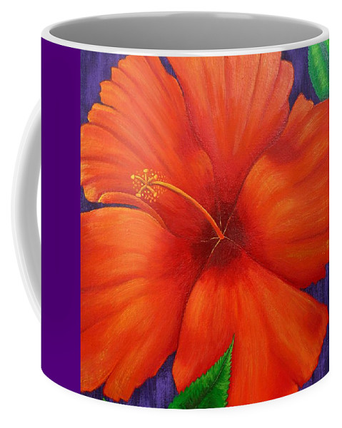 Hibiscus Coffee Mug featuring the painting Hibiscus by Kathleen Toval