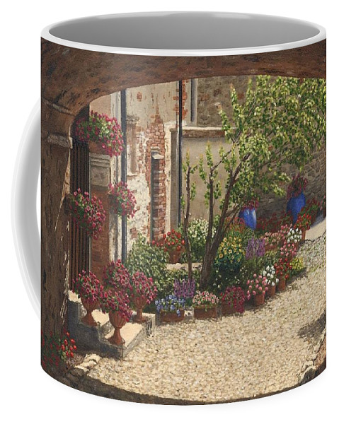 Landscape Coffee Mug featuring the painting Hidden Garden Villa Di Camigliano Tuscany by Richard Harpum