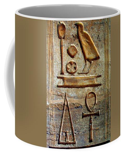 Hieroglyphic Coffee Mug featuring the photograph Hieroglyphics At Amada by Laurel Talabere