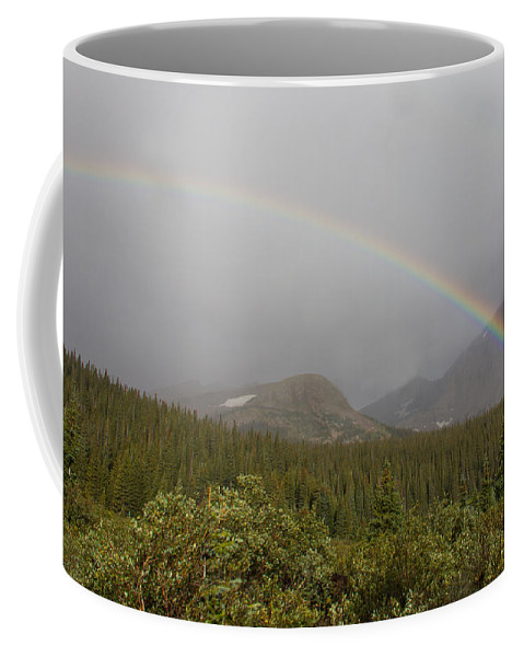 Rainbow Coffee Mug featuring the photograph High Altitude Rainbow Landscape by Tony Hake