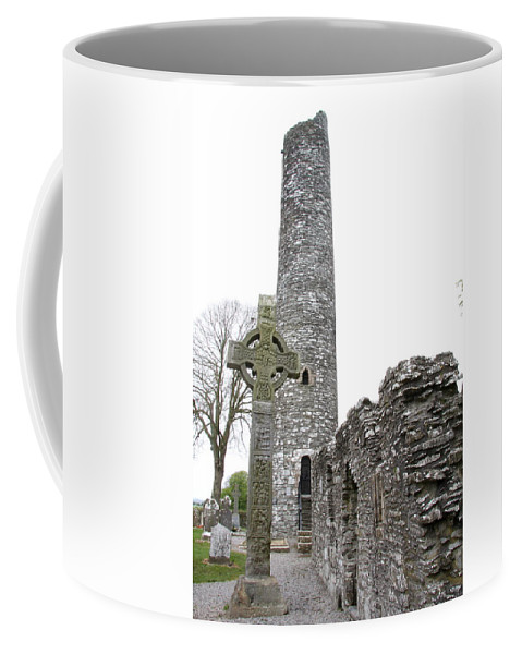 Tall Cross Coffee Mug featuring the photograph High Cross And Round Tower Monasterboice by Christiane Schulze Art And Photography