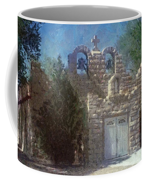 Architecture Coffee Mug featuring the painting High Desert Church by Jeffrey Kolker