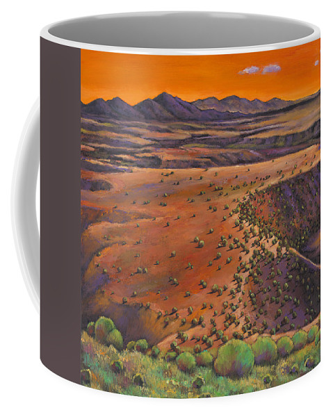 New Mexico Coffee Mug featuring the painting High Desert Evening by Johnathan Harris
