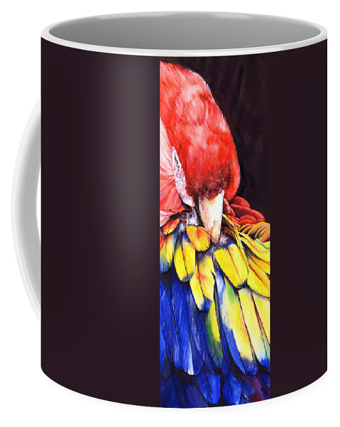 Parrot Coffee Mug featuring the painting High Maintenance by Peter Williams