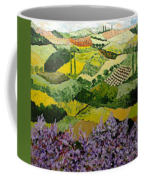Landscape Coffee Mug featuring the painting High Ridge by Allan P Friedlander