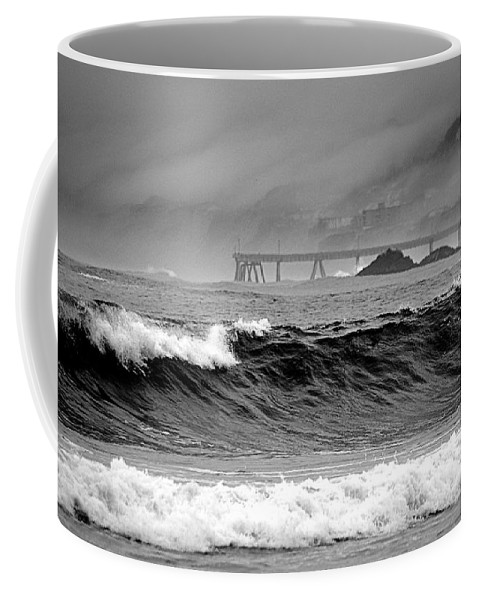 Scenic Coffee Mug featuring the photograph High Seas By The Pier by AJ Schibig