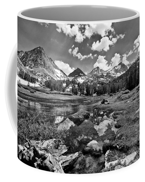 black And White Mountains Snow Hiking Meadow Stream Water Grass Clouds Sky Scenic Landscape Nature Trees Coffee Mug featuring the photograph High Sierra Meadow by Cat Connor