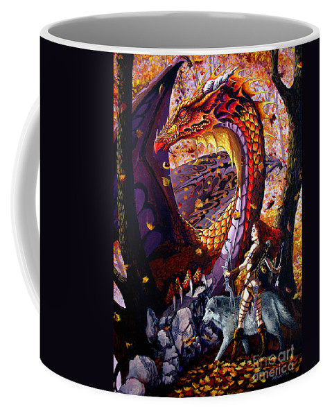 Dragon Coffee Mug featuring the painting Highland Huntress by Stanley Morrison