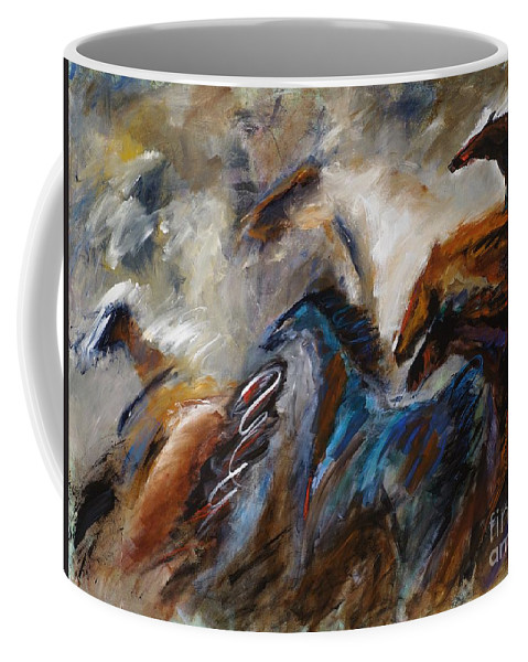 Horses Coffee Mug featuring the painting Hightailing It Out Of There by Frances Marino
