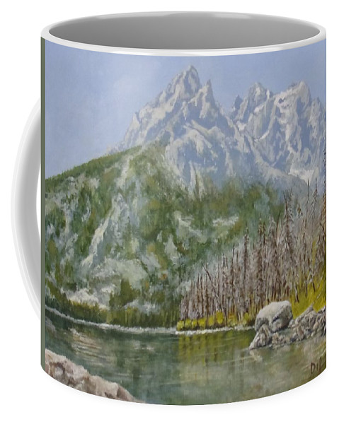 Landscape Coffee Mug featuring the painting Highwater Pines by Michael Dillon