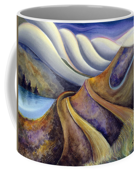 Jen Norton Coffee Mug featuring the painting Highway with Fog by Jen Norton