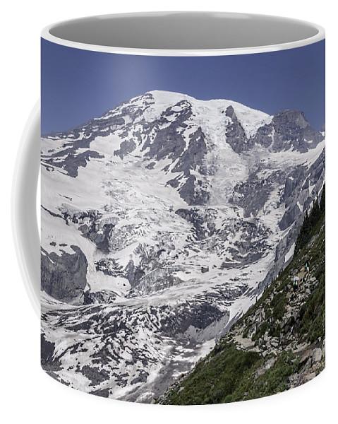 Mt Rainier Coffee Mug featuring the photograph Hiking Mt Rainier by Sharon Seaward