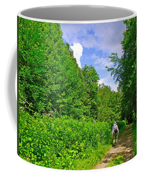 Hiking Trail Along Rivier Du Nord In The Laurentians North Of Montreal Coffee Mug featuring the photograph Hiking Trail Along Rivier Du Nord In The Laurentians North Of Montreal-qc by Ruth Hager