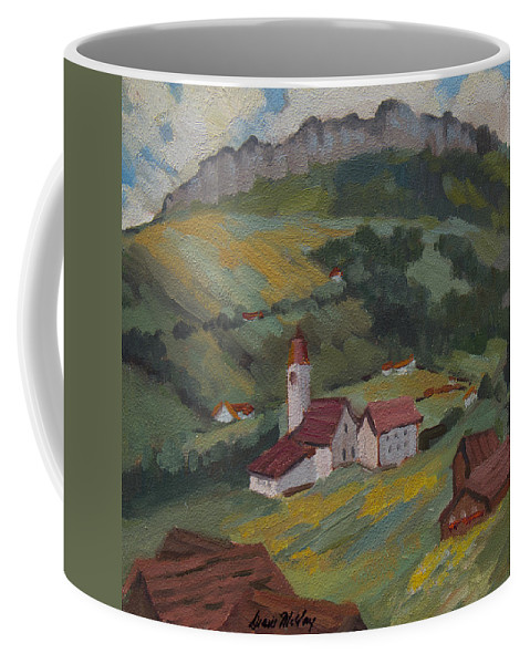 Hilltop Coffee Mug featuring the painting Hilltop Village Switzerland by Diane McClary