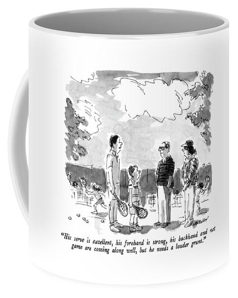 Sports Coffee Mug featuring the drawing His Serve Is Excellent by James Stevenson