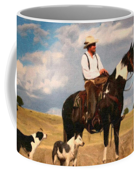 Rodeo Coffee Mug featuring the painting His Three Best Friends by Dean Wittle