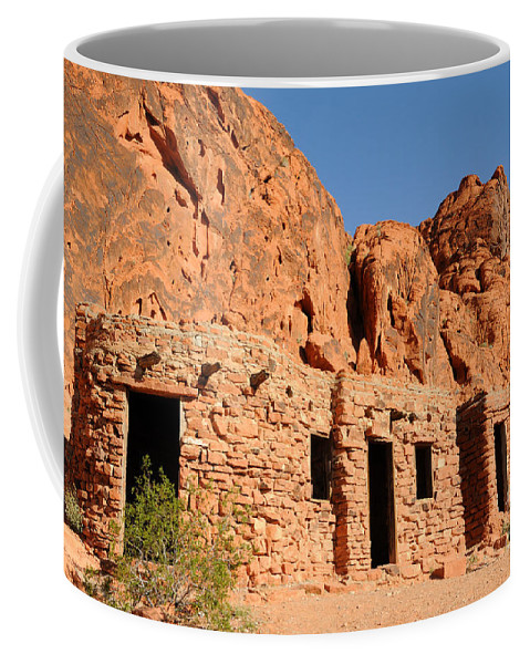 Civilian Conservation Corps Coffee Mug featuring the photograph Historic Civilian Conservation Corps Stone Cabins In The Valley Of Fire by Gary Whitton
