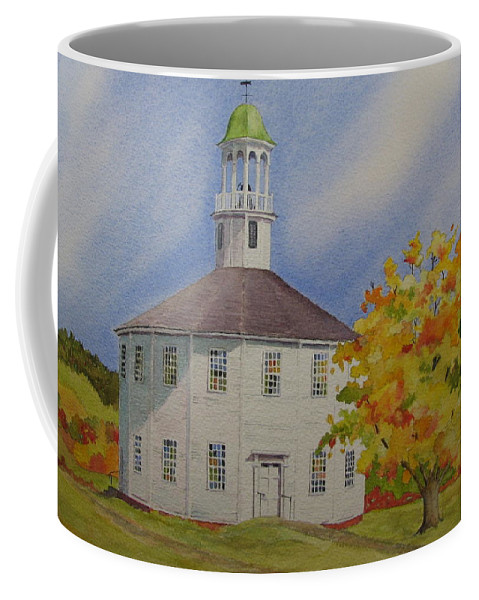 Richmond Coffee Mug featuring the painting Historic Richmond Round Church by Mary Ellen Mueller Legault