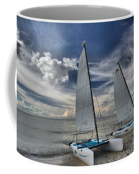 Caribbean Ocean Coffee Mug featuring the photograph Hobie Cats On The Caribbean by Adam Jewell