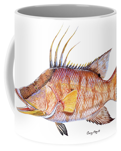 Hogfish Coffee Mug featuring the painting Hog Fish by Carey Chen