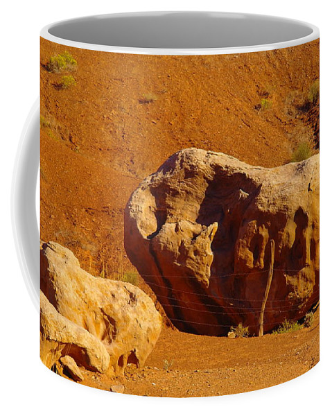 Boulders.rocks Coffee Mug featuring the photograph Holding The Boulder In by Jeff Swan