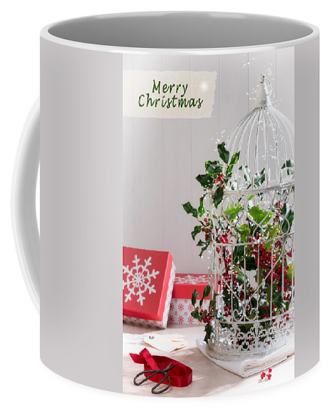 Christmas Coffee Mug featuring the photograph Holiday Birdcage by Amanda Elwell
