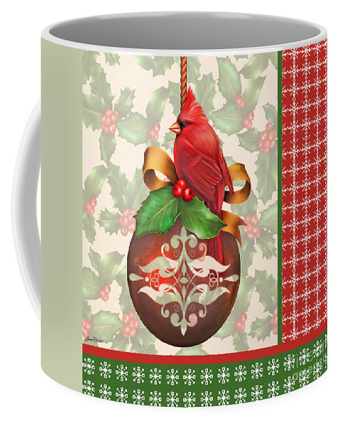 Digital Art Coffee Mug featuring the digital art Holly And Berries-b by Jean Plout