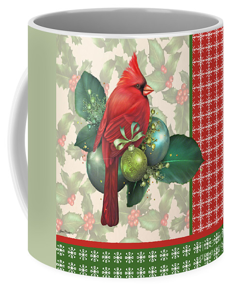 Digital Art Coffee Mug featuring the digital art Holly And Berries-d by Jean Plout