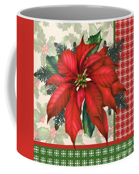 Digital Art Coffee Mug featuring the digital art Holly And Berries-h by Jean Plout