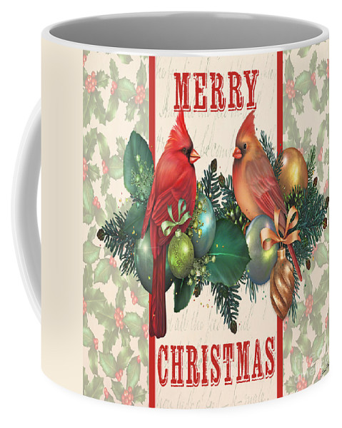 Digital Art Coffee Mug featuring the digital art Holly And Berries-i by Jean Plout