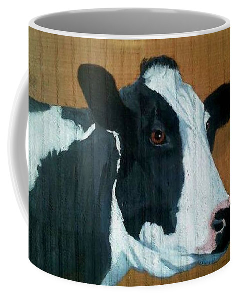 Holstein Coffee Mug featuring the painting Holstein by Debbie LaFrance