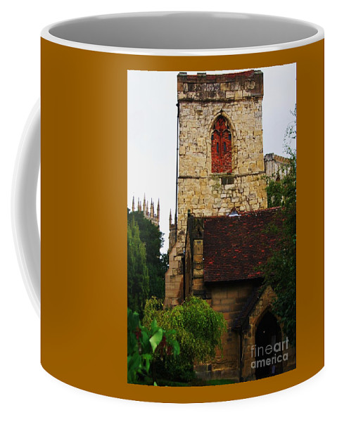 York England 15th Century Church Minster Towers Trees Stone Archway Historic Tower Slate Roof Travel History Destination Souvenir Outdoors Religious World Heritage Site Serene Setting Vertical Goodmangate Tourism Charming Simplicity Vertical Vision Canvas Print Metal Frame Poster Print Available On Greeting Cards T Shirts Tote Bags Mugs And Phone Cases Coffee Mug featuring the photograph Holy Trinity Church, York, England by Marcus Dagan
