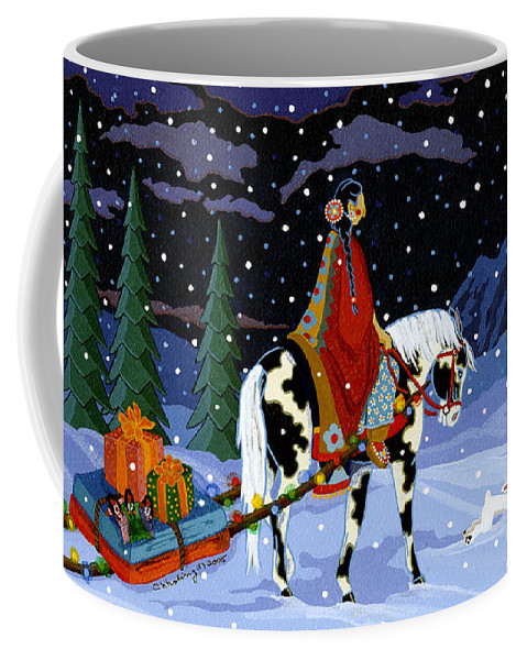 America Coffee Mug featuring the painting Home For The Holidays by Chholing Taha