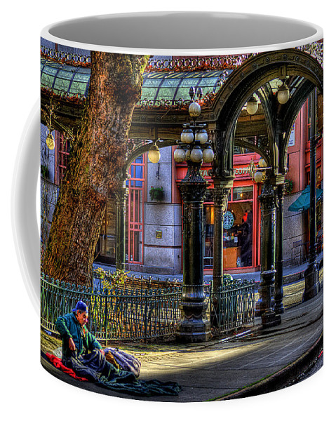 The Pergola Coffee Mug featuring the photograph Homeless In Seattle by David Patterson