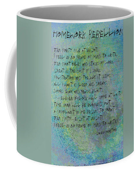 Abstract Coffee Mug featuring the digital art Homework Rebellion by Dawna Morton