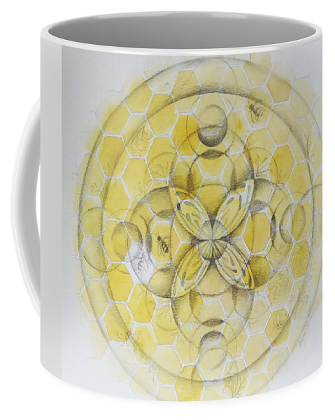 Yellow Coffee Mug featuring the painting Honey Bee Mandala by Andrea Thompson