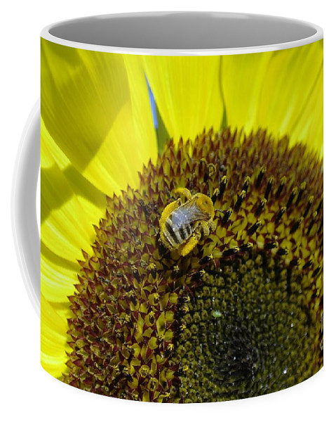 Bees Coffee Mug featuring the photograph Honeybee In A Sunflower by Jeff Swan