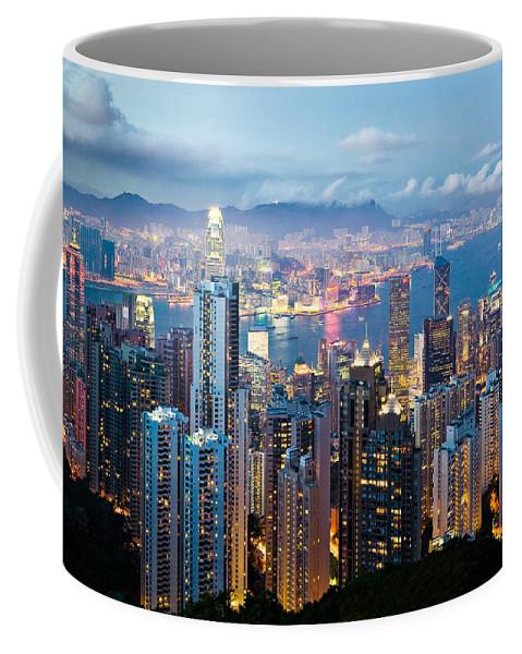 Hong Kong Coffee Mug featuring the photograph Hong Kong At Dusk by Dave Bowman