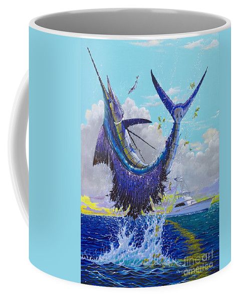 Sailfish Coffee Mug featuring the painting Hooked Up Off004 by Carey Chen