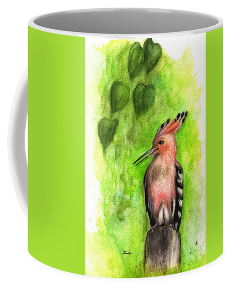 Upupa Epops Coffee Mug featuring the painting Hoopoe by Angel Ciesniarska