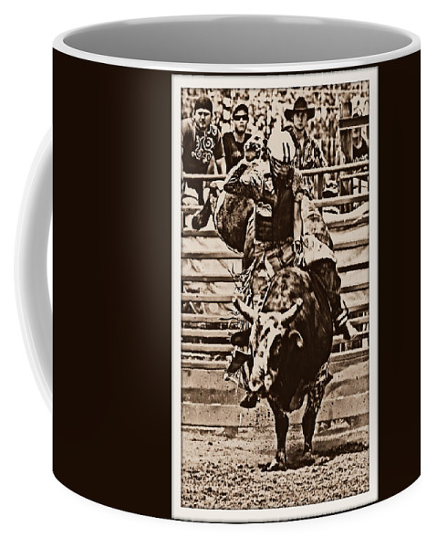 Bullrider Cracker Day Bull Rodeo Coffee Mug featuring the photograph Hooves In The Air by Alice Gipson
