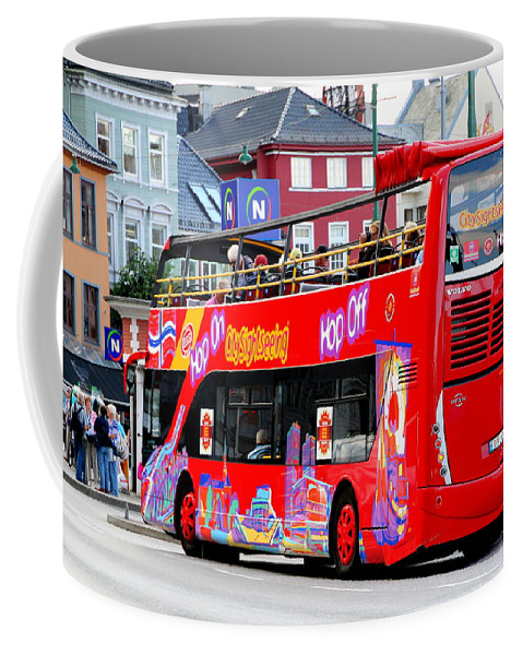 Hop Coffee Mug featuring the photograph Hop On And Hop Off Bus In Bergen by Laurel Talabere