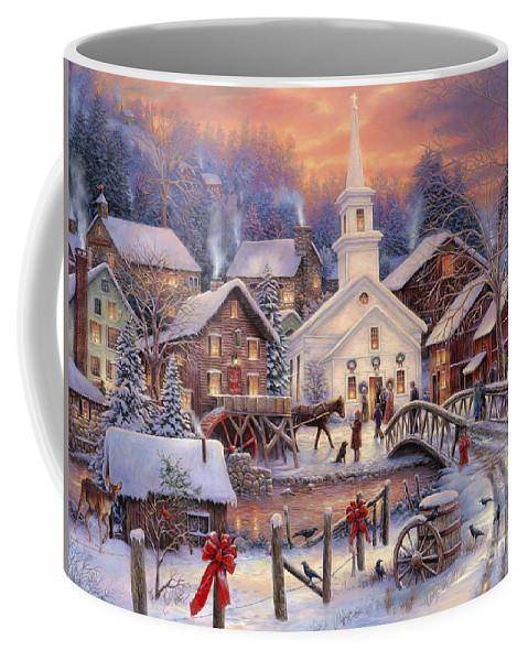 Snow Village Coffee Mug featuring the painting Hope Runs Deep by Chuck Pinson