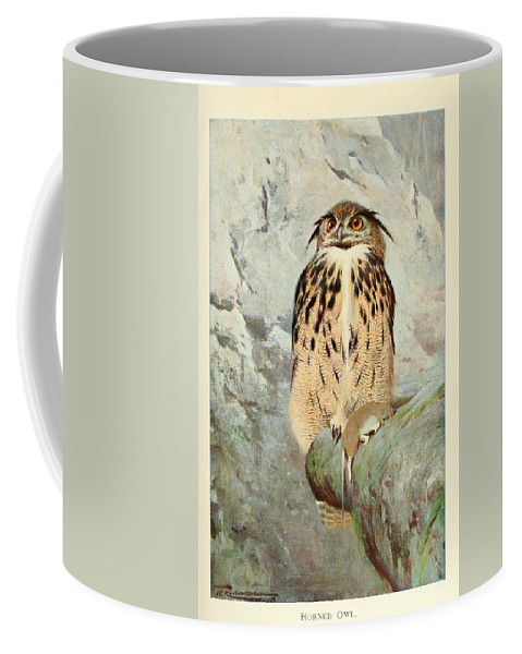 Horned Coffee Mug featuring the painting Horned Owl by Philip Ralley