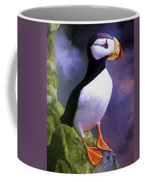 Animal Coffee Mug featuring the painting Horned Puffin by David Wagner